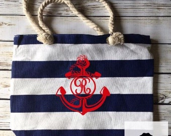 Items similar to Canada Screenprinted Beach Bag Handmade Fabric ...
