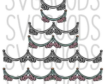 Summer svg, Flower svg, Wedding svg, Floral Swag SVG, Banner svg, Floral svg, Swashes svg, rose svg, layered cut file svg, commercial svg