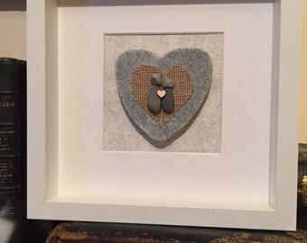Personalised pebble heart couple