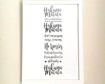Hakuna Matata A4 Print