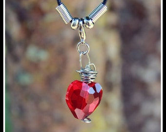 Red Heart gemstone necklace 18 inch