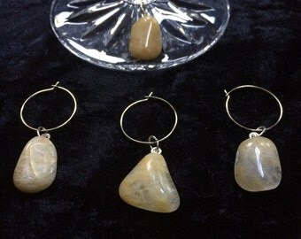 Natural Tumbled Stone Wine Charms (Set of 4) 129-S-WC-AG-Va