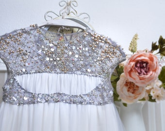 HAUTE COUTURE DRESS, wedding girl dress, tull dress, beaded dress, dress with swarovski,birthday girl dress