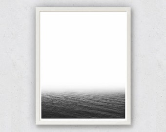 Minimalist Sea Print, Black and White, Ocean Printable, Sea Printable, Minimalist Art Print, Sea Poster Print, Ocean Photograph, Minimalism