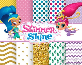 Papers digital Shimmer and Shine + 9 Clipart PNG free