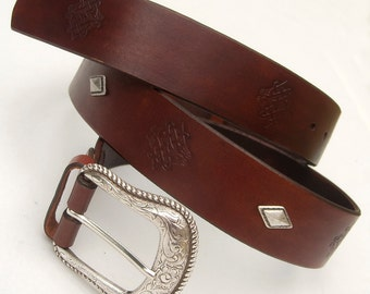 Men's Leather Belt, Rustic leather belt,  Celtic leather belt, Top quality vegetable tanned leather, Engraved leather belt