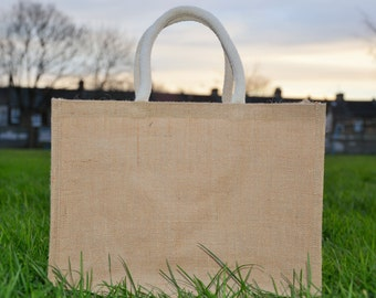 Plain Ex Large Jute Hessian Shopping Bag with Luxury Padded Handles with Free Shipping/UK Stock/Best Quality.