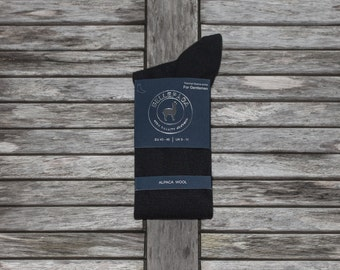 Socks black high Alpaca for man