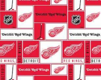 NHL DETROIT Red WINGS Patchwork Hockey 100% cotton fabric material you choose size liscensed for Crafts, Quilts, clothing and Home Decor