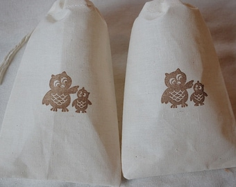 10 Woodland Owls muslin cotton party favor bags 4x6 inch - goodie bags, all occasion bags - you choose ink color
