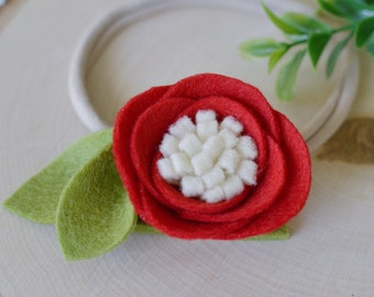 Poppy felt flower headband