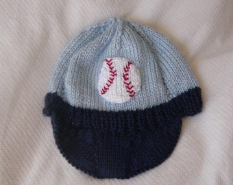 Hand Knitted Baby Hat, Newborn Baby Hat,  Baby Baseball Hat, Knit Baseball Hat, Knit Baby Baseball Hat, Baby Gift, Photo Prop Baby Hat