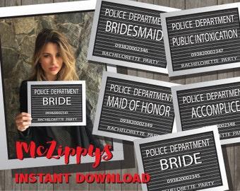 Bachelorette Party Mug Shot Slate Signs  INSTANT DOWNLOAD