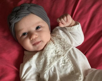Simple Charcoal Grey Sailor Knot Headband for Baby