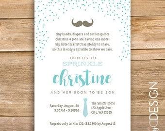 Baby Boy sprinkle invitation, baby boy sprinkle invite, mustache, tie, blue, having one more, printable, instant download
