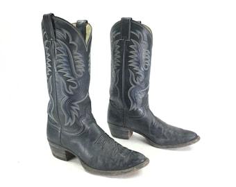 Size 8 D - Men's Vintage Justin Cowboy Western Boots Black Leather
