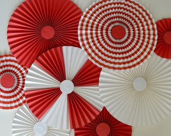 Circus Themed Paper Fans, Pinwheels, Rosettes, Backdrop, Party Decoration