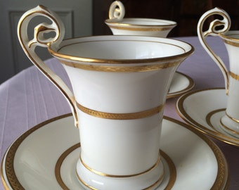Antique Teacups and Saucers, Mintons for Tiffany Cups and Saucers, 6 Vintage Tiffany Gold Trimmed Cups and Saucers, Mintons China, PL3595