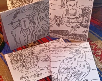 Paradise Variety pack colorable greeting cards / JW / Blank inside / all occasion/ note card /