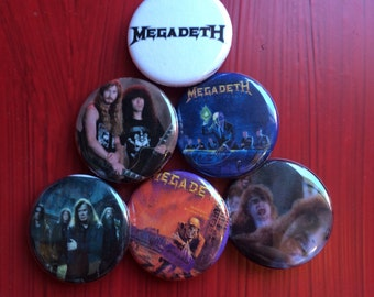 "1.25"" Megadeth pin back button set of 6"