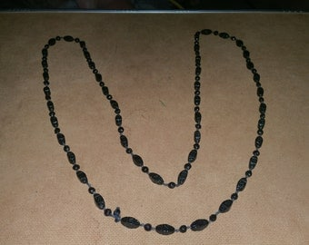 Necklace 28 inch black Glass beaded