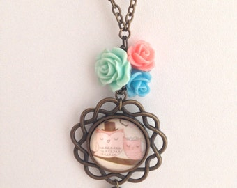 Romantic owls & roses necklace :)