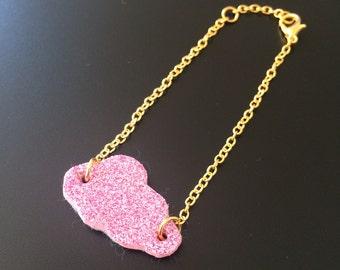 Bracelet cloud fairy, pink glittery, gold chain