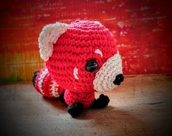 Red amigurumi panda
