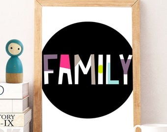 Family Print Family Wall Art Family Art Family Sign Home Decor Housewarming Gift Wall Decor New Home Instant Download Printable Art