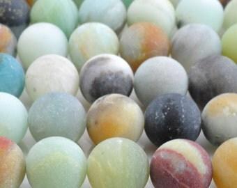 Natural Amazonite, Matte Beads, Amazonite Beads, Round Beads, Semi Precious, Gemstone Beads, 4 6 8 10 12 mm, (OB003)