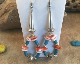 ON SALE Vintage Zuni Turquoise & Spiny Oyster Shell Beaded Dangle Earrings
