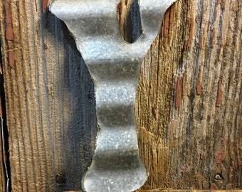 Vintage metal roofing tin letter: Y