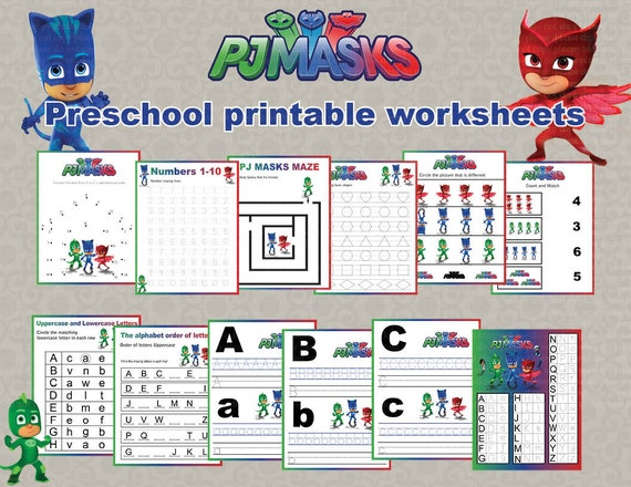 Free Worksheets dot to dot name tracing worksheets : Instand DL PJ Masks Preschool printable worksheets package