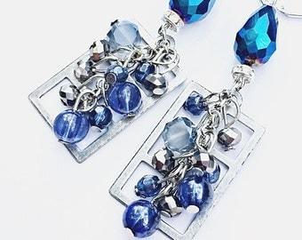 Cobalt blue beaded windowpane earrings