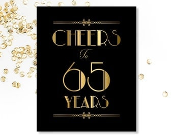 Cheers To 65 Years, 65th Birthday Sign, Printable Sign, 65th Birthday Decorations, Printable 65th Birthday Decor, Gold Party Sign, Gold Sign