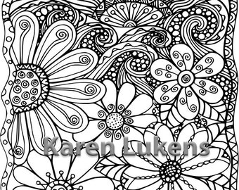 Sunny Day, 1 Adult Coloring Book Page, Printable Instant Download