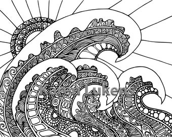 Surf and Sun, 1 Adult Coloring Book Page, Printable Instant Download