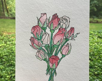 Original Watercolor Painting: Pink Rosebuds