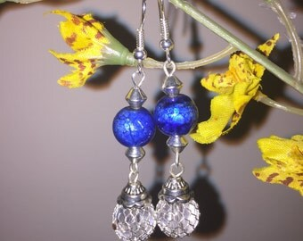 Royal blue and Silver Dangle Earrings