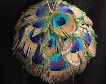 Feather Baubles in Peacock or Guinea Feathers