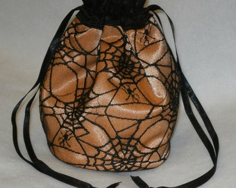 Orange Satin & Black Gothic Spider Web Lace Dolly Bag Evening Handbag / Purse Prom Halloween Costume