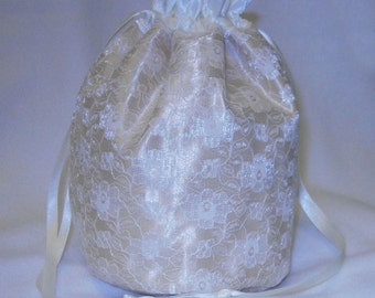 Gold Satin & Ivory Lace Dolly Bag / Handbag Bride Wedding Party Prom