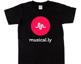 Musical.ly graphic printed on black 100% cotton T shirt  youth size XS S M L XL