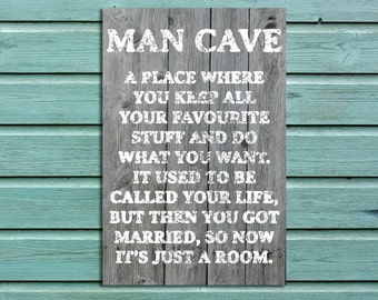 Light Wood Effect Man Cave Sign, Father's Day, Father's Day Gift, Man Cave Rules, Man Cave, Printed Sign, Metal Sign, Kids Sign  \ ms-ms003