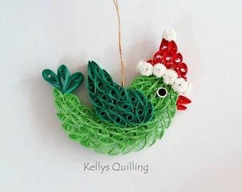 Paper Quilling Christmas bird, Christmas bird, Christmas decoration, paper bird, quilling bird, winter gift, christmas gift, paper art