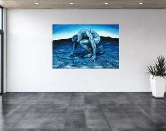 Where? Men nude, sports, original oil painting, surrealism, unique, fantasy, symbolism, painting, painting. Figures, blue