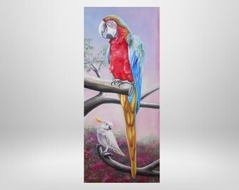 Custom, personalized Parrot portrait on order, oil portrait, bird paintings after your personal photo template.