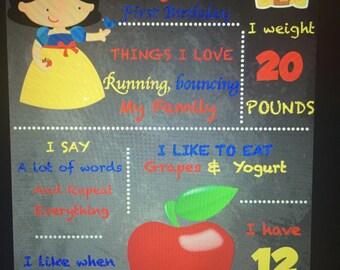 Snow white 1st Birthday Chalkboard