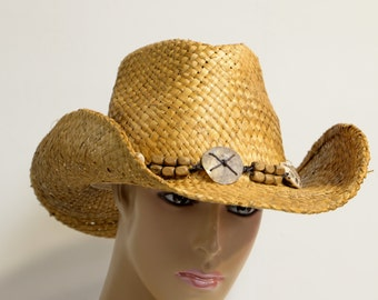 Sythetic Straw Fashion cowboy hat with rolled brim, duo-tone color staining and beaded