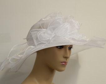 White Organza Hat,Dressy Hat, Kentucky Derby Hat, Church hat,Tea Party Hat, Formal Hat, Church Hat, Derby Hat, Wedding Hat, Funeral Hat